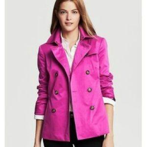 Banana Republic Raspberry Pink Short Trench Coat